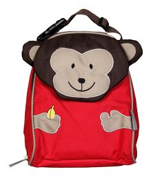 My Milestones Toddler Kids Lunch Bag Monkey Design Red Brown - 9 inch