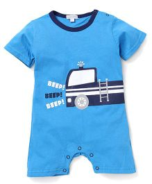 Mothers Choice Short Sleeves Romper Vehicle Print - Sky Blue