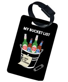 The Crazy Me My Bucket List Printed Luggage Tag - Black