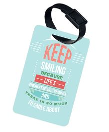 The Crazy Me Life Is A Beautiful Thing Printed Luggage Tag - Light Blue
