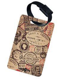 The Crazy Me Vintage Stamps Printed Luggage Tag - Beige