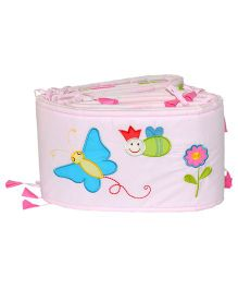 Blooming Buds Garden Daisy Theme Printed Full Cot Side Cover Bumper - Pink