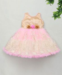 M'Princess Party Dress With Flower Applique - Pink