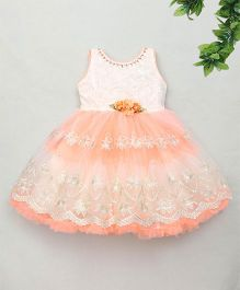 M'Princess Lace Design Party Dress - Orange