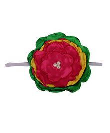 Pikaboo Big Floral Applique Headband - Green Pink