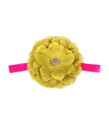 Pikaboo Floral Applique Headband - Mustard Yellow