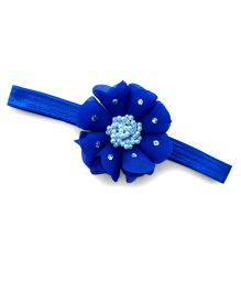 Little Miss Cuttie Elegant Pearl Beaded Flower Headband - Royal Blue