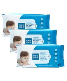 Mee Mee Caring Baby Wet Wipes - 3 Packs Of 72 Pieces