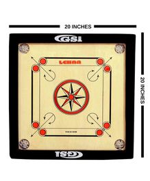 GSI Khel Mandir Small 4 mm Gloss Finish Carrom Board With Coins Striker & Powder