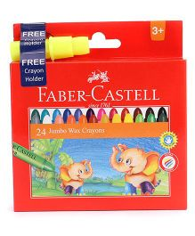 Faber Castell Jumbo Wax Crayons With Free Crayon Holder - 24 Shades