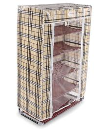 Baby 5 Layer Storage Rack Checks Print - Beige