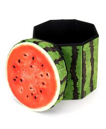 Dimpy Stuff Kids Foldable Water Melon Shaped Storage Box Cum Stool - Green And Red