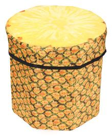 Dimpy Stuff Kids Foldable Pineapple Shaped Storage Box Cum Stool - Yellow