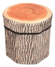 Dimpy Stuff Kids Foldable Wood Log Print Storage Box Cum Stool - Brown
