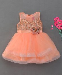 M'Princess Stylish Flower Design Party Dress - Peach
