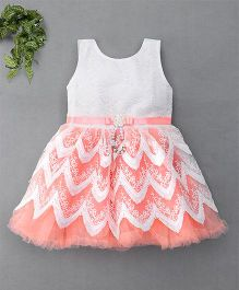 M'Princess Pretty Lace Design Party Dress - Peach