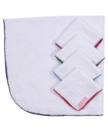 Mumma s Touch Organic Baby Wrap Towel with Grey Border + 4 Assorted Baby  Face Towels 46006a5ae