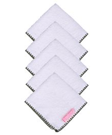 Mumma's Touch Organic Baby Face Towel Small Pack Set of 5- Off White Green Border