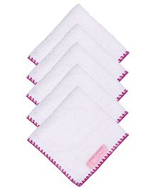 Mumma's Touch Organic Baby Face Towel Small Pack Set of 5- White Purple Border