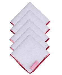 Mumma's Touch Organic Baby Face Towel With Red Border - Small