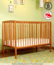 Babyhug 3 Level Height Adjustable Malmo Wooden Cot  - Natural