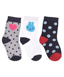Footprints Organic Cotton And Bamboo Socks Dots Design Pack Of 3 - Grey White Blue