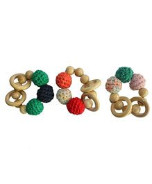 Shumee Wooden Rattle Rings For Babies 15 cm - Multicolour