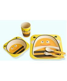EZ Life Bee Printed 5 Pieces Kids Dining Set - Yellow