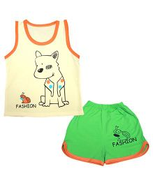 Kiwi Sleeveless Vest And Shorts Set Puppy Print - Yellow Green