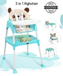 Babyhug 3 in 1 Play & Grow High Chair With 5 Point Safety Harness And Anti-Slip Base  - Blue