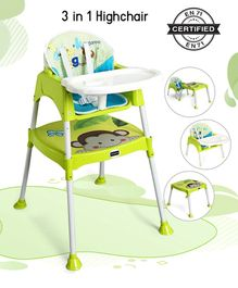 Babyhug 3 in 1 Play & Grow High Chair With 5 Point Safety Harness And Anti-Slip Base - Green