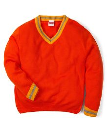 34a0f494e0a Babyhug Full Sleeves Solid Color Contrast V Neck Sweater - Orange
