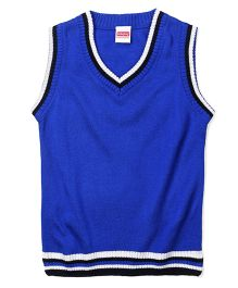 Babyhug Sleeveless Solid Color Sweater - Blue