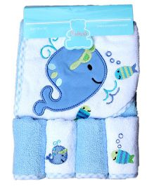 Owen 5 Piece Starter Set Hooded Towel With 4 Wash Cloths