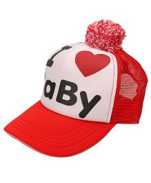 Little Wonder I Love Baby Print Cap - Red & White