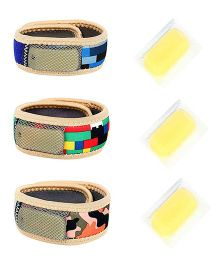Safe-O-Kid 3 Mosquito Repellent Bands -Fabric, Reusable, Ayurvedic & Natural, Multi-color- Red, Blue & Pink Base, Pack of 3