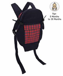 3 Way Baby Carrier Checks Print - Navy Blue & Red