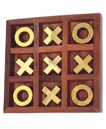 Desi Karigar Noughts and Crosses Game Brass Wooden Tic Tac Toe Game - Brown