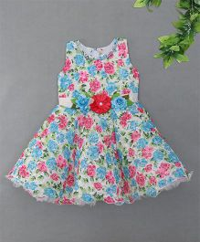 Blue LeafFloral Design Dress - Blue
