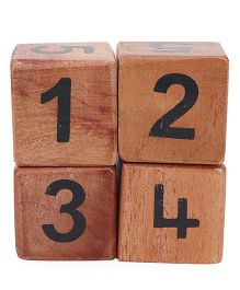 Alpaks Numeric Wooden Dice Pack Of 4 (Color May Vary)