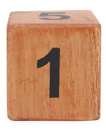 Alpaks Numeric Wooden Dice - Brown
