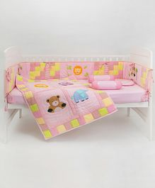 Blooming Buds Jungle Friends Cot Bedding Set 6 Pieces - Pink
