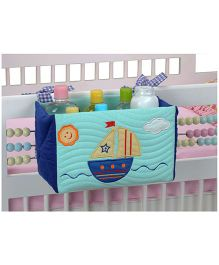 Blooming Buds Sailboat Printed Cot Tidy Bin - Blue