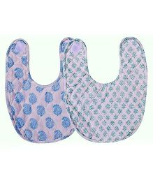 Mom's Home Organic Cotton Super Soft Bibs Green Blue - Pack Of 2