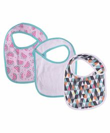 Mom's Home Organic Cotton Super Soft Bibs Pink And Green - Pack Of 3