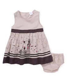 Starters By Wonderchild Cycle & Heart Print Dress With Bloomer - Cream