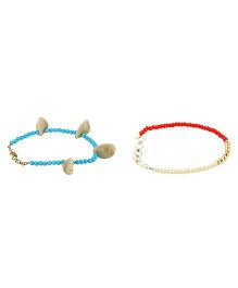 Funkrafts Anklet Combo Set Of 2 - Blue & Red