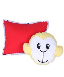 HouseThis The Champ Chimp Pure Cotton Pillow & Cushion Set - White