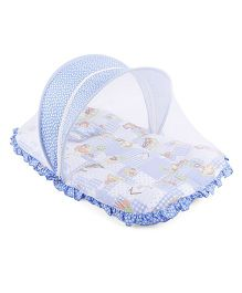 Mee Mee Mattress With Pillow And Mosquito Net Multiprint - Blue White