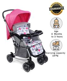 Babyhug 2 in 1 Rock and Roll Stroller Cum Rocker - Grey Pink